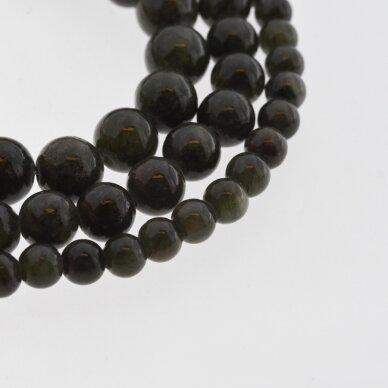 """""""Žadeitas"""" (dolomitinis marmuras), natūralus, dažytas, apvali forma, #YXS25 tamsi samanų spalva , 37-39 cm/gija, 6, 8, 10, 12 mm"""