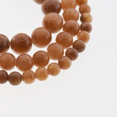 """""""Žadeitas"""" (dolomitinis marmuras), natūralus, dažytas, apvali forma, #YXS27 šviesi ruda spalva, 37-39 cm/gija, 6, 8, 10, 12 mm"""