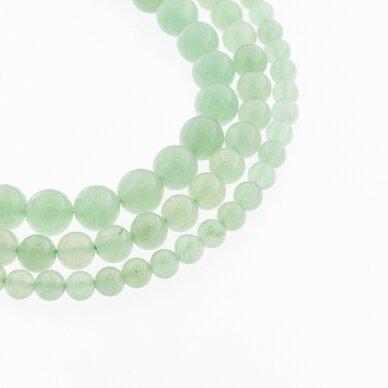 Žalias avantiurinas, natūralus, B kokybė, apvali forma, 37-39 cm/gija, 4, 6, 8, 10, 12 mm