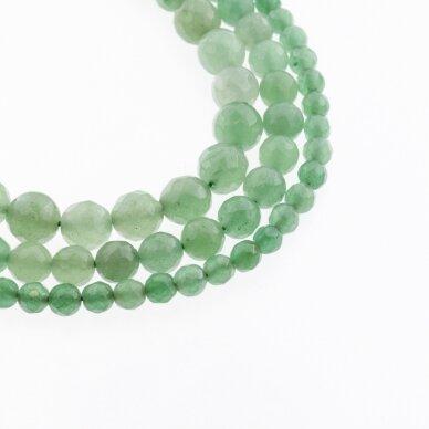Žalias avantiurinas, natūralus, B kokybė, briaunuotas, apvali forma, 37-39 cm/gija, 4, 6, 8, 10, 12 mm