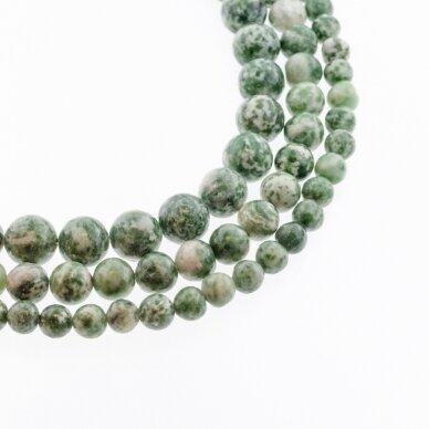 Žalias dėmėtas jaspis, natūralus, apvali forma, 37-39 cm/gija, 4, 6, 8, 10, 12 mm
