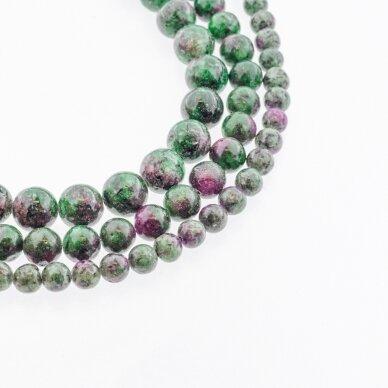 Zoisitas su rubinu, imitacija, B kokybė, apvali forma, rožiniai žalia spalva, 37-39 cm/gija, 4, 6, 8, 10, 12, 14 mm