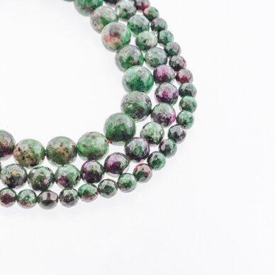 Zoisitas su rubinu, imitacija, B kokybė, briaunuotas, apvali forma, rožiniai žalia spalva, 37-39 cm/gija, 4, 6, 8, 10, 12 mm