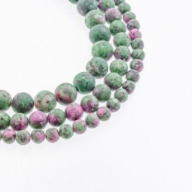 Zoisitas su rubinu, imitacija, B kokybė, matinis, apvali forma, rožiniai žalia spalva, 37-39 cm/gija, 4, 6, 8, 10, 12 mm